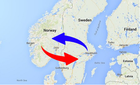 Transport from Sweden to Norway and Norway to Sweden. Shipping from Norway to Sweden