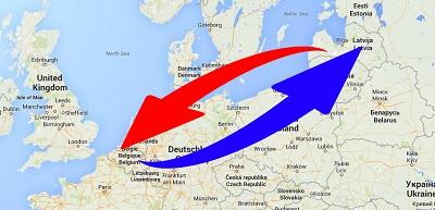 Transport van België naar Letland en van Letland naar België.
