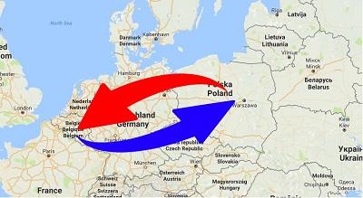 Transport van België naar Polen en van Polen naar België.