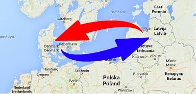 Transport Letland til Danmark og Danmark til Letland.