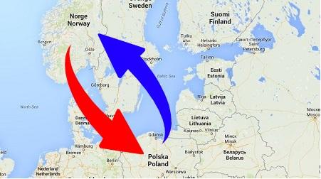 Transport Norge til Polen. Frakt fra Polen til Norge.