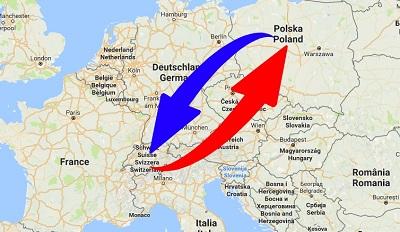 Transport-Spedition von Schweiz nach Polen und von Polen nach Schweiz.