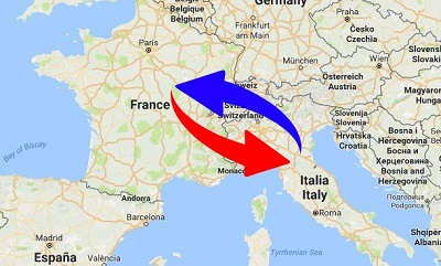 Transport France to Italy
