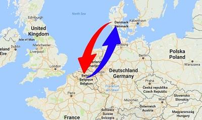 Transport Belgien til Danmark og Danmark til Belgien
