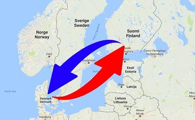Transport Finland til Danmark og Danmark til Finland